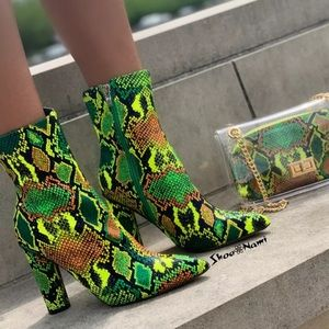 Lime snake skin bootie